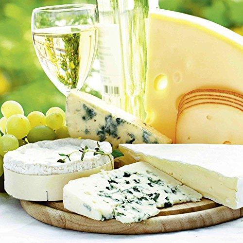 Artland Qualitätsbilder I Glasbilder Deko Glas Bilder 20 x 20 cm Ernährung Genuss Lebensmittel Foto Creme D1JA Käse & Wein