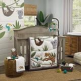 NoJo Jungle Gym 4Piece Nursery Crib Bedding Set - Grey, Brown & Green Comforter, 100% Cotton Fitted Crib Sheet, Crib Skirt, & Storage, Grey, Brown, Green