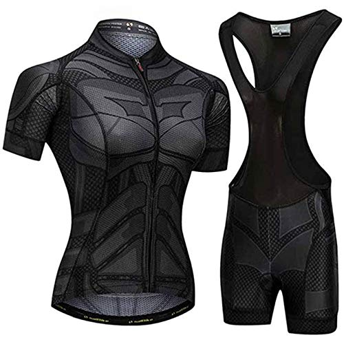 Women Cycling Jersey Set, Pro Team Breathable MTB Bike Short Sleeve Jacket + Cycling Shorts with Seat Padding (Color : A, Size : Xx-large)