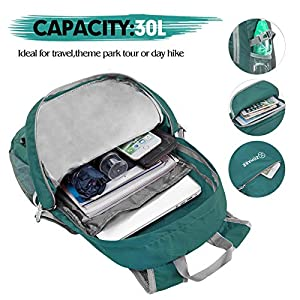 ZOMAKE 30L Lightweight Packable Backpack Water Resistant Hiking Daypack,Small Travel Backpack Foldable Camping Outdoor Bag Army Green