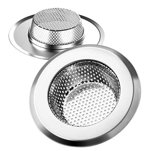 Helect Colador Fregadero de Cocina, Solo Apto Compatible Agujeros de Tapón de Fregadero con Diámetros> 60 mm y Profundidades> 25 mm, 2 Unidades