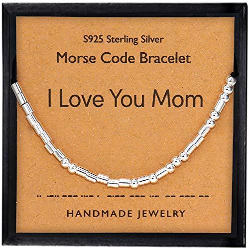 YooAi Pulsera de código Morse Regalo para Madre Cuentas de Plata esterlina Pulsera de cordón de Seda Joyería Hecha a Mano Regalo para cumpleaños Día de la Madre Amo a mamá