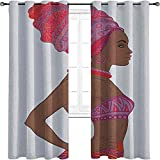 Woman 90%-99% Blackout Lining Curtain, Beautiful Zulu Woman with Sexy Bandage Dress Necklace Female, 2 Panels per Group W84 x L96 Inch Chocolate Purple Dark Coral
