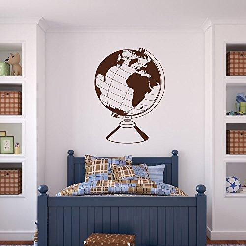 malango® Wandtattoo - Globus Wand Tattoo Weltkarte Wandaufkleber Wandsticker Welt Aufkleber Sticker ca. 44 x 60 cm azurblau