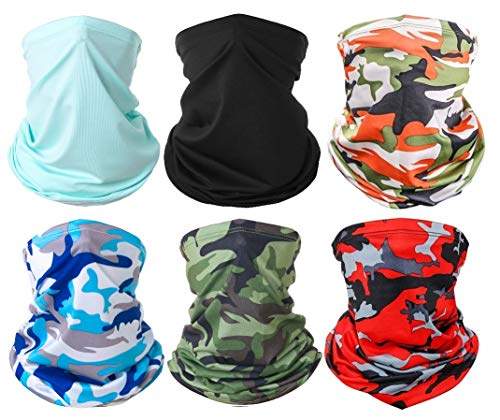 FASOON 6 Pieces Sun UV Protection Face Mask Neck Gaiter Scarf Sunscreen Breathable Bandana Balaclava for Workout Yoga Running Hiking Cycling Riding Fishing Motorcycling