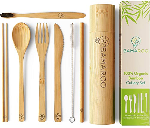 BAMAROO Bamboo Utensils Cutlery Set - Reusable Cutlery Travel Set With Case - Eco-Friendly Wooden Flatware Set For Kids & Adult -Outdoor Portable Fork, Spoon, Knife, Chopsticks, Straw & toothbrush