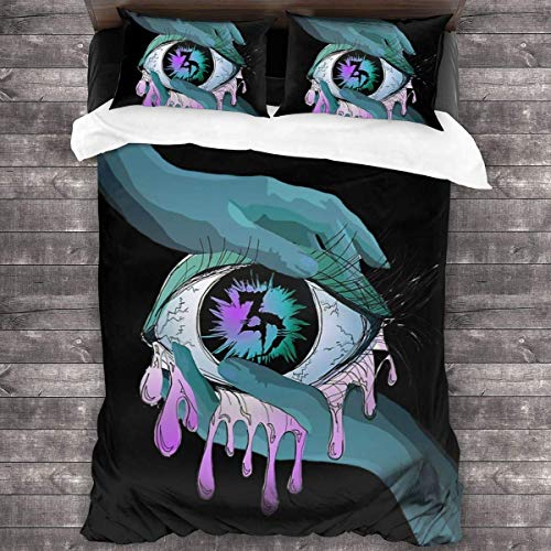3-Piece Bedding Sets 86'X70',Zeds Dead Warm Top King Sheets Set With 2 Square Classic Throw Pillow Covers For Women Bedroom