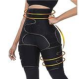 Gahin 3 in 1High Waist Thigh Trimmer for Women Fitness Weight Loss Belt Black
