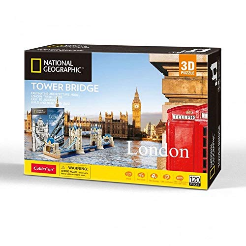 University Games- Giochi National Geographic Tower Bridge Puzzle 3D, Multicolore, 120 pcs, 7655