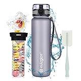 eulogize Auslaufsichere Sport Trinkflasche BPA frei Fruchteinsatz, 1-klick Verschluss Wasserflasche für Sport, Schule, Fahrrad und mehr, Water Bottle 1L