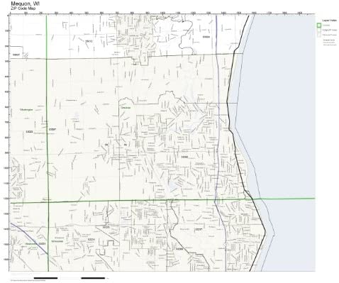 ZIP Code Wall Map Max 75% OFF of Not Mequon Raleigh Mall Laminated WI
