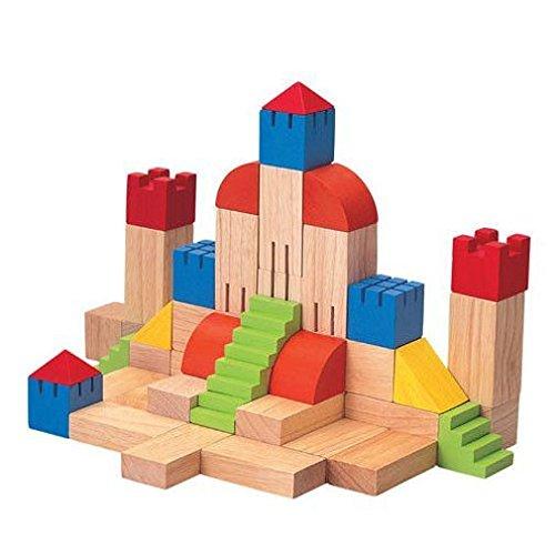 Plan Toys - Jeu de construction - Assortiment de Blocs en bois Spécial Château
