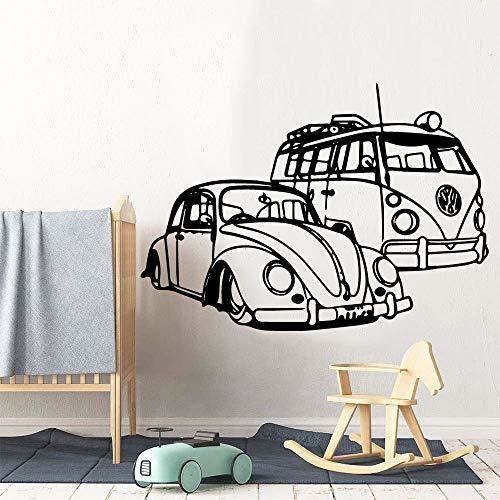 Dibujos animados Van Hippie Auto Car Vehículo Camper Viaje Aventura Viaje Mini Bus Etiqueta de la pared Calcomanía de vinilo Niño Niños Dormitorio Sala de estar Club Decoración para el hogar Mura