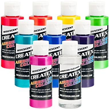Iridescent 8 Createx Airbrush Paint Colors Set 2 Oz Bottles