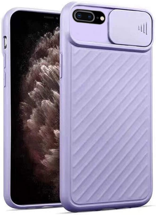 Omorro for iPhone 8 Plus/iPhone 7 Plus Case with Camera Cover, Creative Design Slide Camera Lens Cover Protector Case Both Sides Non-Slip Bumper Upgraded Protective Case for iPhone 8 Plus - Purple