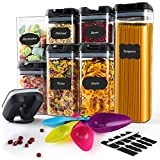 Airtight Food Storage Containers, 7PC Plastic Cereal Containers with Upgraded Durable Lids -...