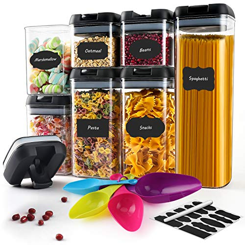 Airtight Food Storage Containers 7PC Plastic Cereal Containers with Upgraded Durable Lids - LabelsSpoonsPen - BPA Free Kitchen Pantry Clear Storage Containers for Flour Sugar Pasta