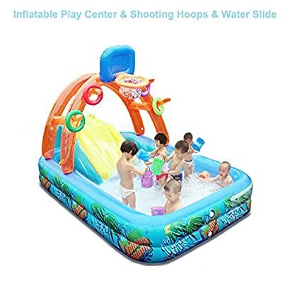 Inflatable Play Center Arch Spray Pool, Inflatable Swimming Pool & Basketball Shooting Hoops & Water Slide for Kids Children Garden Backyard Summer Water Party Fun Toys