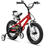 RoyalBaby Kids Bike Boys Girls Freestyle BMX Bicycle with Training Wheels Gifts for Children Bikes 14 Inch Red