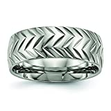 Mens 8mm Polished Titanium Grooved Tire Tread Mark Wedding Band Ring Size 9