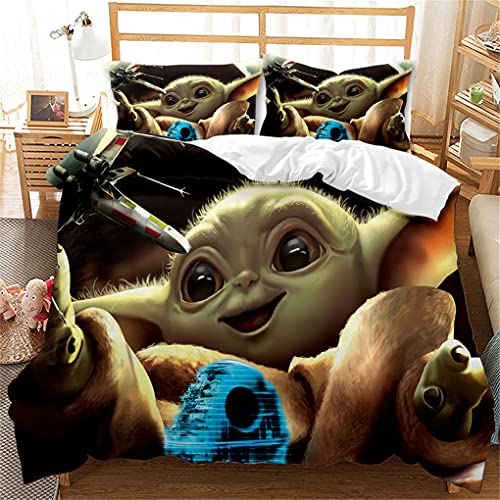 LHQQ Baby Yoda Bedding Duvet Sets , Luxury Soft Duvet Covers Set, Microfiber Bed Covers with Pillowcase, King Size Duvet Cover Sets (220*230cm+2×50*75cm)(BY#5)