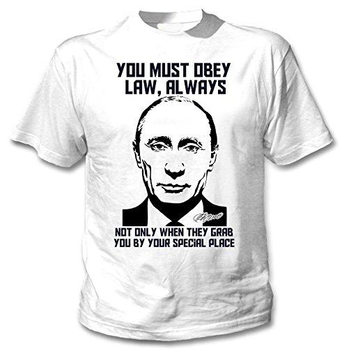 teesquare1st Vladimir Putin Obey The Law Quote Camiseta Blanca para Hombre de...