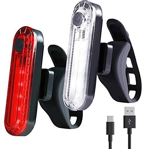 MINGUUK Luce Posteriore per Bici (2 Pezzi), Torcia Luminosa di Sicurezza per Bicicletta Posteriore, Batteria al Litio da 330 mAh, 4 modalità di Illuminazione (2 Cavi USB Inclusi)