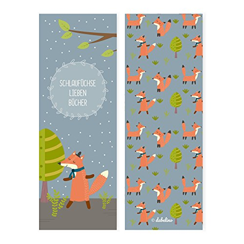 dabelino 4er Set Fuchs-Lesezeichen für Kinder (Mädchen oder Jungen, Waldtiere-Kindergeburtstag-Mitgebsel)