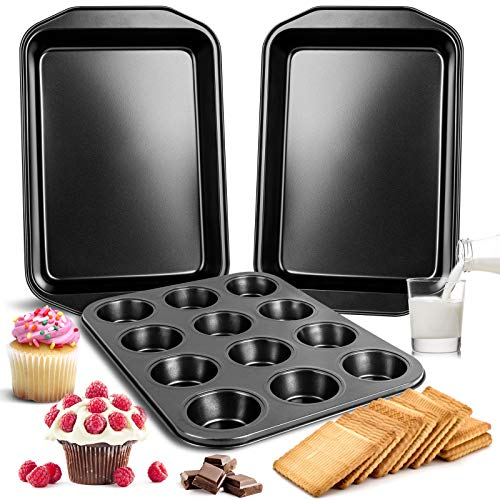FOLNG Nonstick Bakeware Set, Cookie Pan Set, Muffin Pan Nonstick, Durable Carbon Steel Baking Sheets, The Best Gifts for elders or lovers(3-Piece)