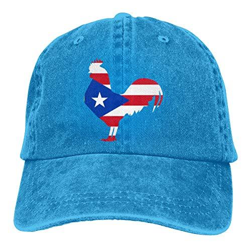 Women's Puerto Rico Flag Rooster Denim Jeans Baseball Cap Adjustable Snapback Cap Blue