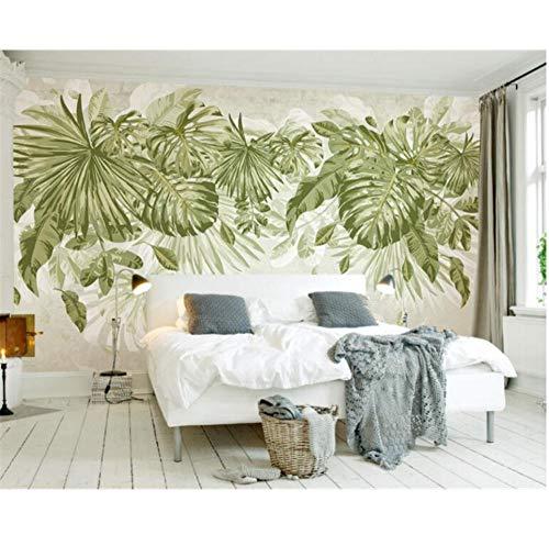 QAQB behang tropische groene bladeren planten jungle winden aquarel tv achtergrond muur muurschilderingen 3.5M*2.5M