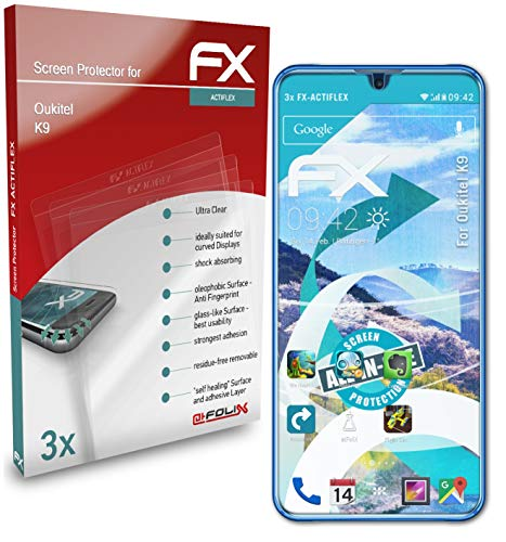 atFolix Schutzfolie kompatibel mit Oukitel K9 Folie, ultraklare & Flexible FX Bildschirmschutzfolie (3X)