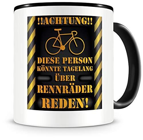 Samunshi® Rennrad Tasse mit Spruch Geschenk für Fahrrad Fans Kaffeetasse groß Lustige Tassen zum Geburtstag schwarz 300ml