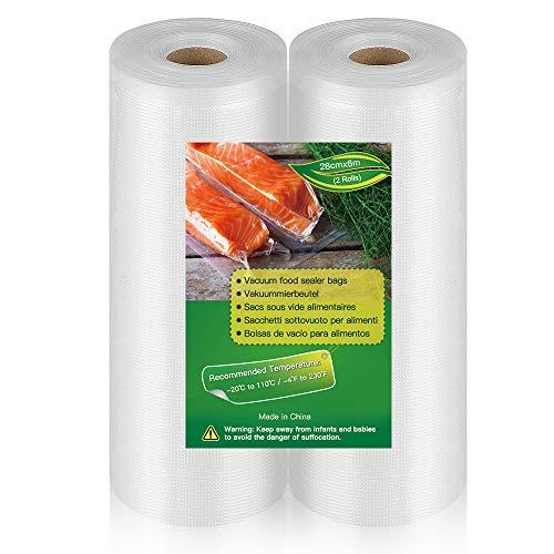 BoxLegend Bolsas al Vacio,Total 12m, 2 Rollos 28x600cm (0.91  x19.6 ) Rollos al Vacio para Envasadora al Vacío, Bolsas de Vacio Gofradas para Conservación de Alimentos y Sous Vide Cocina & Boilable