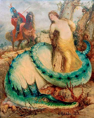 Kunstdruck/Poster: Arnold Böcklin Angelika von Einem Drachen bewacht - hochwertiger Druck, Bild, Kunstposter, 55x70 cm