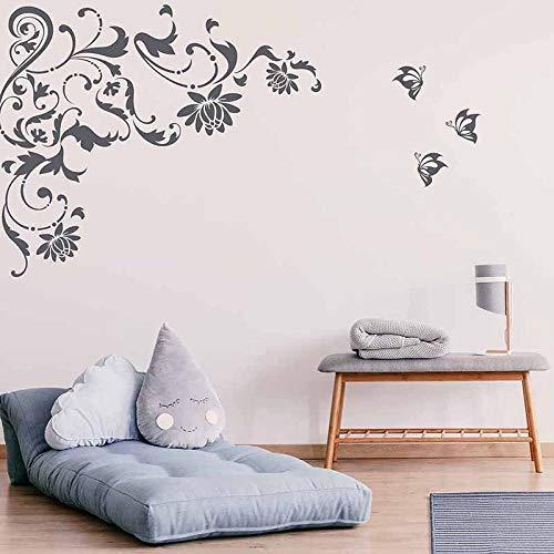 FXBSZ Anpassbare Lotusrebe Wandbehang Wein und Blattblume Wandtattoo mit Schmetterling Mädchen Schlafzimmer Dekoration Wandaufkleber Grau 130cm x 88cm