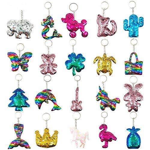 GuassLee 20 portachiavi con paillettes per feste e regali di compleanno, per bambini e adulti, accessori per zaino