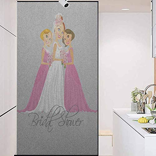 """Anti-Static Glass Sticker Colorful Window Glass Film, Bridal Shower Bride and Best Friends Bridesmaid on Flo, Home Window Tint Film Heat Control, 23.6"""" Wx78.7"""" Linches"""