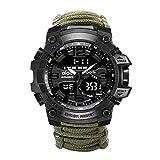 XXQ Emergencia Wilderness Survival Watch Paraguas Cordón Silbato Brújula Reloj Militar Multifuncional Reloj de Supervivencia al Aire Libre Set para Campamentos, Aventuras y Militares
