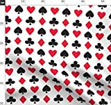 Rot, Schwarz, Weiß, Spielkarte, Herz Stoffe - Individuell