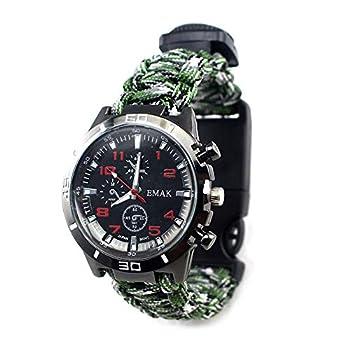Huanxin Bracelet De Survie, 6 en 1 Réglable De Survie Paracord Bracelet, Kit De Survie Vitesse avec Boussole, Thermomètre/Sifflet De Survie/Montre/Grattoir pour La Randonnée, Le Camping