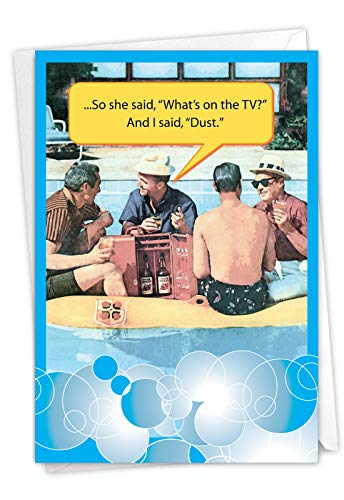 NobleWorks - Happy Father's Day Greeting Card Funny - Humor for Dad or Stepdad, Notecard with Envelope - I Said Dust 0197