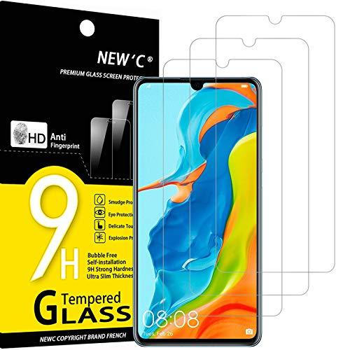 NEW'C Lot de 3, Verre Trempé Compatible avec Huawei P30 Lite, Nova 4e, Film Protection écran sans Bulles d'air Ultra Résistant (0,33mm HD Ultra Transparent) Dureté 9H Glass