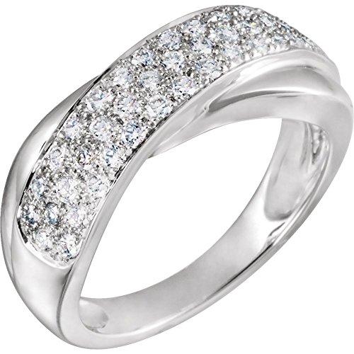 14ct de oro blanco anillo de diamantes en bruto 5/8CT - Talla L 1/2 - JewelryWeb