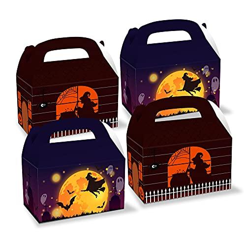 Jingyukj-Cajas Kraft,12pcs Víspera de Todos los Santos Cajas para Dulces,Viene con 18 pegatinas Cajas carton regalo,Muy adecuado para dulces,chocolate,cupcakes,galletas,caja para regalo
