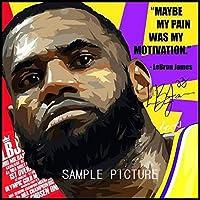 レブロン・ジェームズ バスケットボール NBA デザインE 海外スポーツグラフィックアートパネル 木製 壁掛け インテリア ポスター (26*26cm アートパネルのみ)
