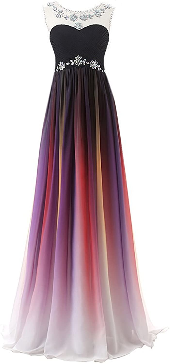 BEALEGAN Lady Women's Gradient Long Prom Dresses Ombre Formal Evening Party Gown