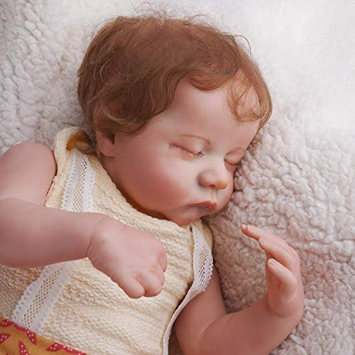 JIZHI Lifelike Reborn Baby Dolls Girls Soft Full Vinyl Body 17 Inch Sleeping Realistic Newborn Baby Dolls Real Life Baby Dolls Gift Set Kids Toys for Age 3+