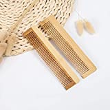 peine Peine De Bambú Natural De 2 Piezas, Cepillo De Masaje Profesional Para La Pérdida De Cabello, Cepillo Para El Cabello, Peine Para El Cuero