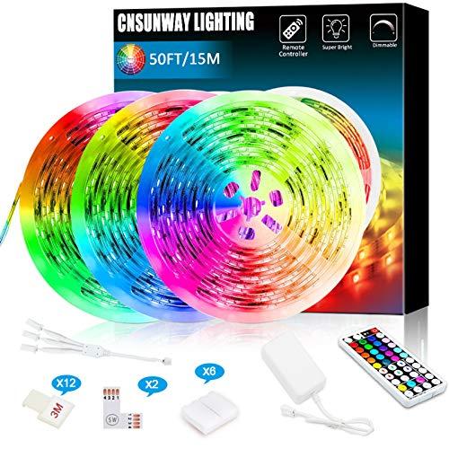 Strisce LED, 49.2ft / 15m RGB con telecomando 44 tasti RF, 24V strisce luminose a LED con cambio colore per camera da letto Soggiorno TV compleanno Bar Decorazione natalizia